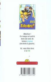 Zatchbell T2 - 4ème de couverture - Format classique