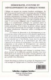 Democratie Culture Et Developpement En Afrique Noire - 4ème de couverture - Format classique