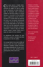 Mort Ou Vif ; La Face Cachee Du Suicide Chez Les Garcons - 4ème de couverture - Format classique