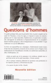 Questions d'hommes - 4ème de couverture - Format classique
