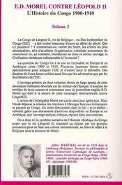 Ed Morel (Vol 2) Contre Leopold Ii L'Histoire Du Congo 1900 1910 - 4ème de couverture - Format classique