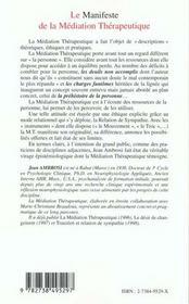 Le Manifeste De La Mediation Therapeutique - 4ème de couverture - Format classique