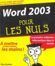 Word 2003 Pour Les Nuls - Intérieur - Format classique