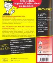 Word 2003 Pour Les Nuls - 4ème de couverture - Format classique