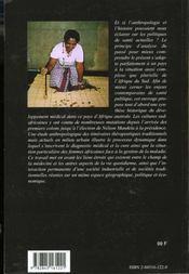 Gestion Traditionnelle De La Maladie Et Politiques De Sante En Afriqu E Du Sud - 4ème de couverture - Format classique