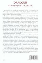 Oradour, la politique et la justice - 4ème de couverture - Format classique