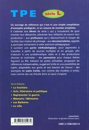 Pistes Pour Travaux Personnels Encadres Serie L Methodologie Panorama Thematiques Pistes De Sujets - 4ème de couverture - Format classique