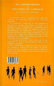 De La Biophilosophie A Une Ethique De La Biologie - 4ème de couverture - Format classique