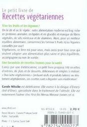 Le Petit Livre De Cuisine ; Des Recettes Végétariennes - 4ème de couverture - Format classique