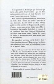 Le Club Des Tueurs De Lettres - 4ème de couverture - Format classique