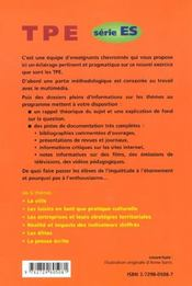 Pistes Pour Travaux Personnels Encadres Serie Es Methodologie Rappels Thematiques Axes De Recherche - 4ème de couverture - Format classique