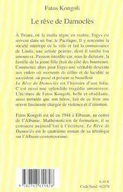 Le Reve De Damocles - 4ème de couverture - Format classique