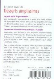 Le Petit Livre De Cuisine ; De Desserts Simplissimes - 4ème de couverture - Format classique