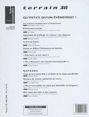 Terrain N.38 ; Qu'Est-Ce Qu'Un Evènement ? - 4ème de couverture - Format classique
