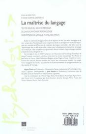 Maîtrise du langage - 4ème de couverture - Format classique