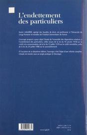 Endettement Des Particuliers (L') - 4ème de couverture - Format classique