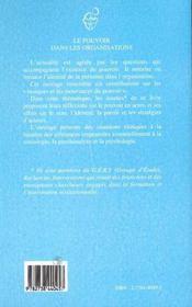 Le Pouvoir Dans Les Organisations ; Masques Et Mouvances - 4ème de couverture - Format classique