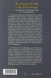 Desastre De 1902 A La Martinique (Le) L'Eruption De La - 4ème de couverture - Format classique