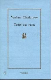 Tout Ou Rien. Cahier 1. L'Ecriture - Couverture - Format classique
