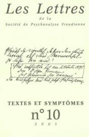 Revue Les Lettres De La Spf N 10 2003 - Textes Et Symptomes - Couverture - Format classique