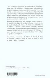 Phenomenologie Un Siecle De Philosophie - 4ème de couverture - Format classique