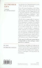 Le premier lien ; théorie de l'attachement - 4ème de couverture - Format classique