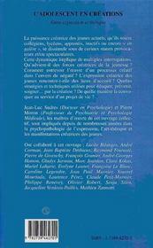 L'Adolescent En Creations : Entre Expression Et Therapie - 4ème de couverture - Format classique