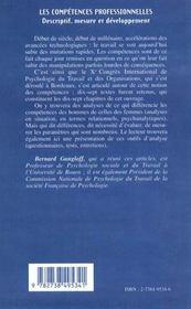 Les Competences Professionneeles ; Descriptif ; Mesure Et Developpement - 4ème de couverture - Format classique