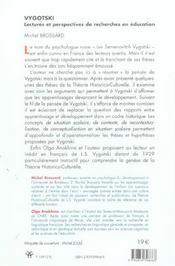 Vygotski Lectures Et Perspectives De Recherches En Education - 4ème de couverture - Format classique