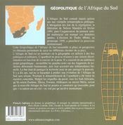 Geopolitique De L'Afrique Du Sud - 4ème de couverture - Format classique