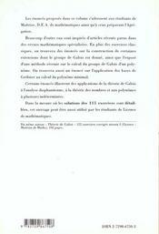 Theorie De Galois 115 Exercices Corriges Niveau Ii Maitrise-Dea Agregation De Maths - 4ème de couverture - Format classique