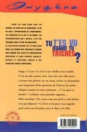 Tu T'Es Vu Quand Tu Triches ? - 4ème de couverture - Format classique
