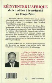 Reinventer L'Afrique ; De La Tradition A La Modernite Au Congo-Zaire - 4ème de couverture - Format classique