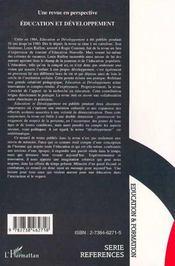 Une Revue En Perspective : Education Et Developpement - 4ème de couverture - Format classique
