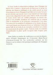 Reformer Les Finances Espagnoles Au Siecle D'Or. Le Projet <I>Valle D E La Cerda</I> - 4ème de couverture - Format classique