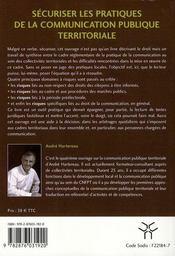 Securiser Les Pratiques De La Communication Publique Territoriale - 4ème de couverture - Format classique