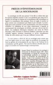 Precis D'Epistemologie De La Sociologie - 4ème de couverture - Format classique