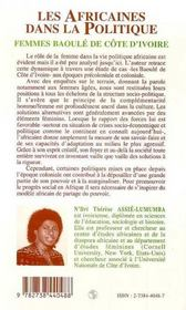 Les Africaines Dans La Politique ; Femmes Baoule De Cote-D'Ivoire - 4ème de couverture - Format classique