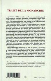 Marquis de Mirabeau François Quesnay ; traité de la monarchie - 4ème de couverture - Format classique