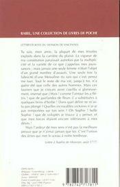 Lettres ecrites du donjon de vincennes - 4ème de couverture - Format classique