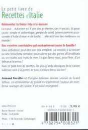 Le petit livre de recettes d'Italie - 4ème de couverture - Format classique