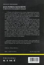 Jean-Patrick Manchette - 4ème de couverture - Format classique
