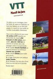 VTT dans le Jura ; France et Suisse - 4ème de couverture - Format classique