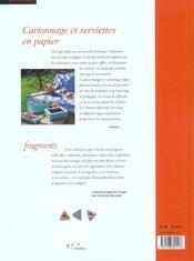 Cartonnage Et Serviettes En Papier - 4ème de couverture - Format classique