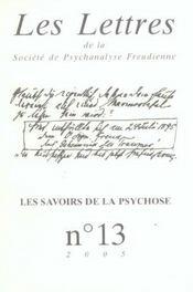 Revue les lettres de la societe de psychanalyse freudienne n.13 ; les savoirs de la psychose - Intérieur - Format classique