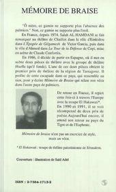 Mémoire de braise - 4ème de couverture - Format classique