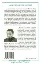 La Sociologie Du Sourire Ou Le Pouvoir De Seduction - 4ème de couverture - Format classique