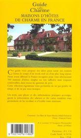 Maisons d'hotes de charme en france ; guide 2004 - 4ème de couverture - Format classique