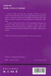 Musil,Le Feu Et L'Extase - 4ème de couverture - Format classique