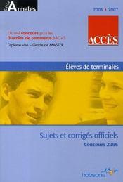 Concours Acces (edition 2006-2007) - Intérieur - Format classique